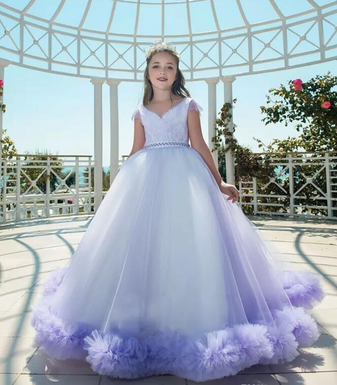 New Purple Puffy Tulle Flower Girl Dress for Weddings Short Sleeves Ball Gown Girl Party Communion Pageant Gown Vestidos purple tulle ball gown flower girl dress