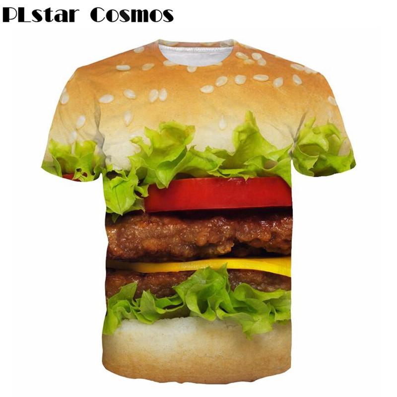 PLstar Cosmos Fashion Dames heren T-shirts Cheese Burger 3d-print T-shirt Hamburger t-shirt Zomer stijl casual t-shirt tops