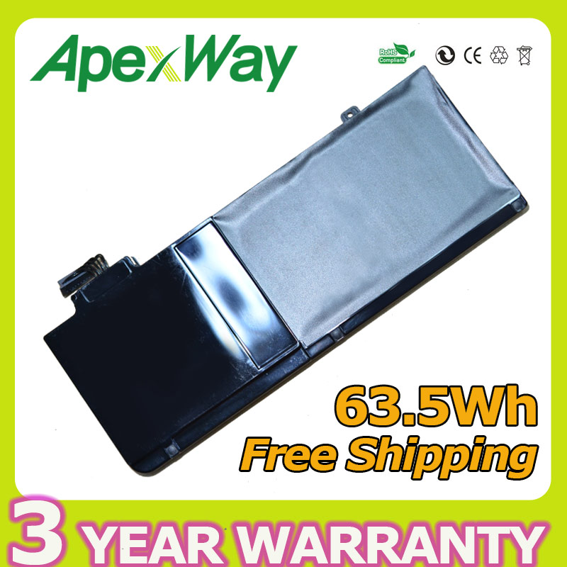 Apexway 63.5V laptop battery A1322 For APPLE MacBook Pro 13  Unibody A1278 Mid 2009 2010 2011 2012 MB991*/A MB990*/A new touchpad trackpad with cable for macbook pro 13 3 unibody a1278 2009 2012years