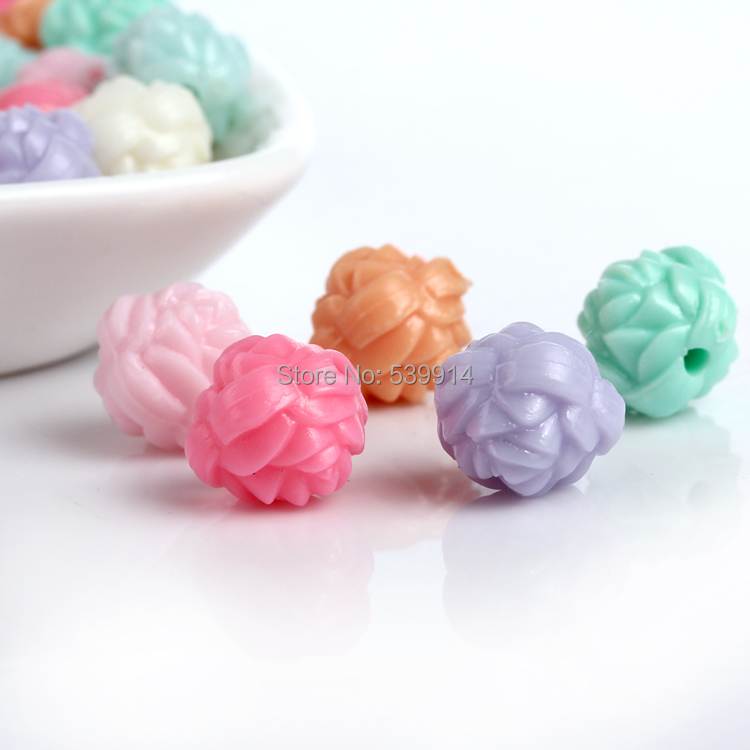 Mix Candy Warna Akrilik Beads12mm Semi Transparan Akrilik Boncuk Perhiasan Bahan Gaya Musim Panas Manik-manik Abalorios Bisuteria 200 Pcs