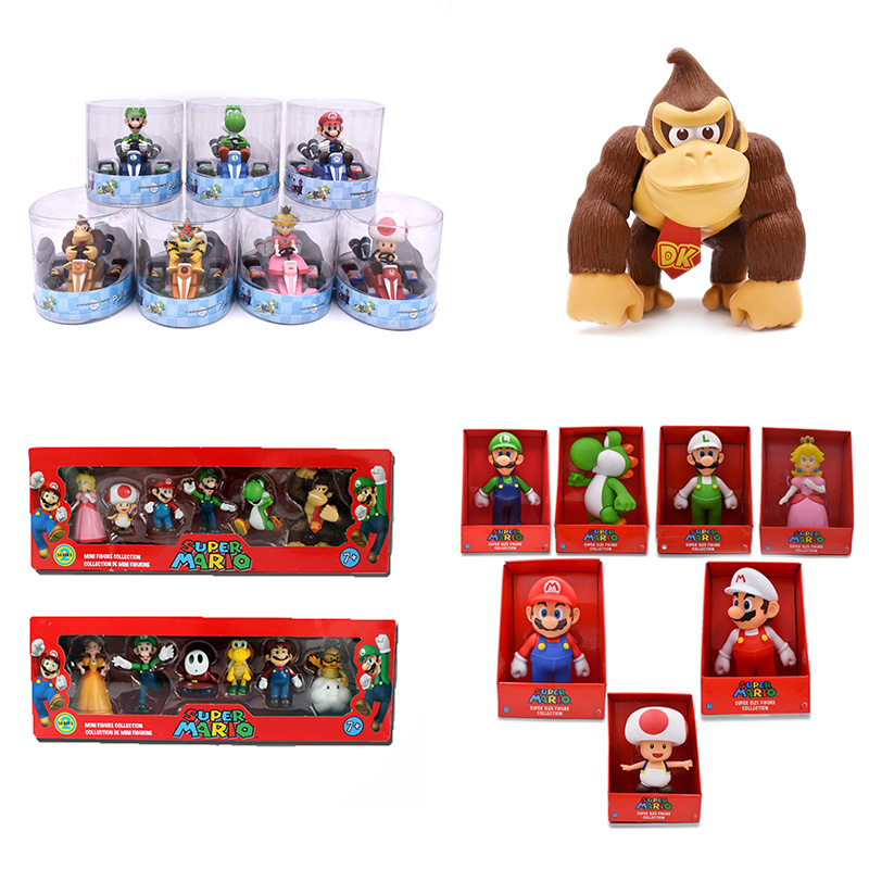 DONKEY KONG Super Mario Bros Bowser Luigi Koopa Yoshi Mario Car Toad Peach Princess Odyssey PVC Action Figure Model Dolls Toys super mario bros bowser princess peach yoshi luigi toad goomba pvc action figure toy model