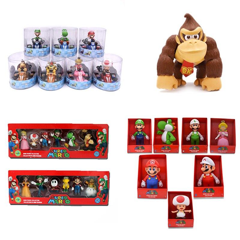 DONKEY KONG Super Mario Bros Bowser Luigi Koopa Yoshi Mario coche sapo Peach princesa Odyssey PVC figura de acción muñecas modelo juguetes