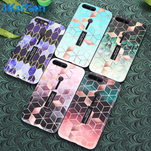 Luxury Phone Back Cover Funda Hard PC Case For iPhone XS Max XR Cross Pattern Grid Bracket Ring Case For iPhone 8 7 6 Plus Capa scenery pattern protective pc back case cover for iphone 6 plus black multi colored