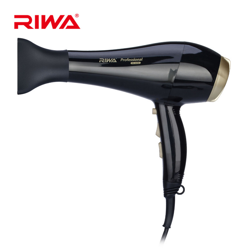 Riwa Salon Professional Low Noise Hair Dryer Blow Super Power Dryer with 3 Nozzles Styling Tools Hairdryer Travel Household 29 hotapei sexy black v neck lace up cover up dresses lc42090 women 2018 new beach dress hollow out crochet tunic beachwear vestido