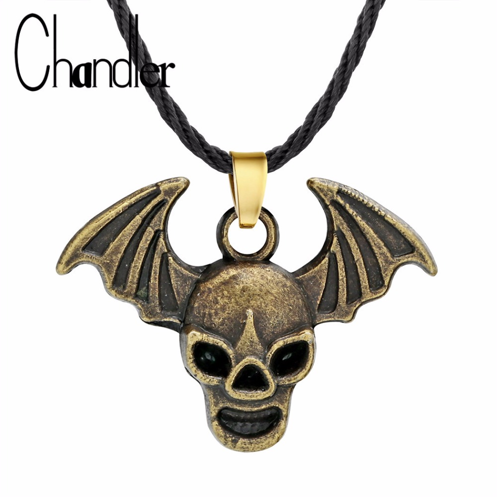 Chandler Gothic Raven Skull Necklace Men Vintage Hip Hop Jewelry Evil Pirate Devil Wings Skeleton Colier Halloween Gift skull necklace raven skull