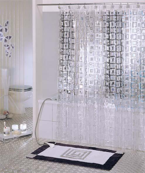 מגה וברק לבן בולט EVA שקוף הוכחת עובש עמיד למים לעבות וילון מקלחת מקלחת NC-84