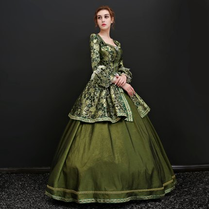 green flower embroidery venice carnival queen ball gown princess medieval dress Renaissance Gown Victoria/Antoinette