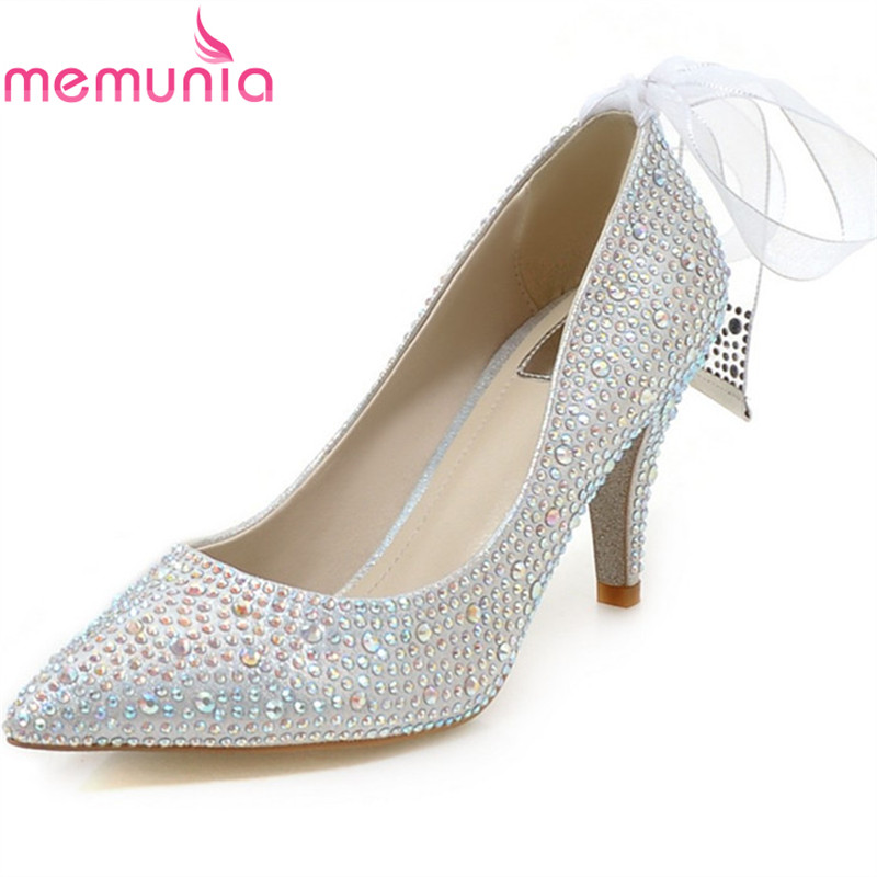 MEMUNIA new arrive women genuine leather high heels shoes fashion wedding shoes pointed toe rhinestone bowknot single shoes memunia new arrive hot sale genuine