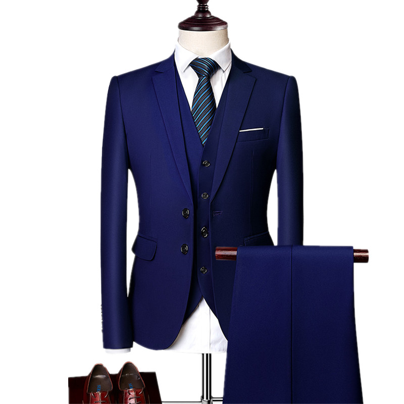 Blazers Pants Suit Jacket Coat Wedding-Dress Groom Business Suits/men's Fashion 3piece