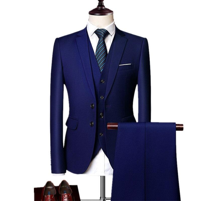 Blazers Pants Vest Sets / 2018 New Fashion Groom Wedding Dress Suits / Men's Casual Business 3 Piece Suit Jacket Coat Trousers