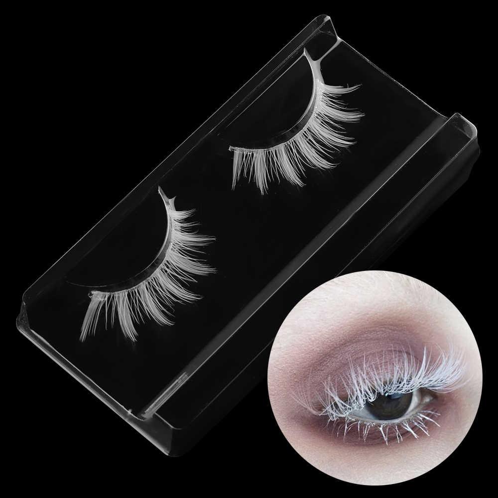 6fab0d08c34 1pair Beauty White False Eyelashes Long Cross Eyelashes Extension Soft False  Eyelashes Cosplay Eye Makeup Tools