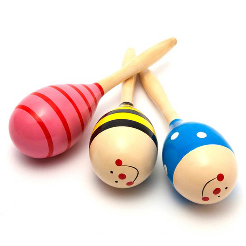 Unid Infant Toys, Children Toys maracas Ball Sand Hammers mango Wood Toys Baby Rattle Music Learning