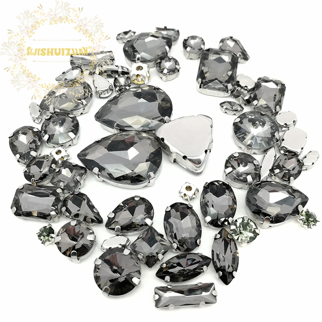 fb94add638 US $4.31 49% OFF|52pcs 23sizes 10shapes MIX Gray Size Crystal Glass Sew on  Rhinestones Silver Bottom DIY Women's Dresses and Shoes -in Rhinestones ...