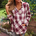 Blusas 2017 New Spring Autumn Women Hooded Plaid  Blouses Long Sleeve Shirt Tops Ladies Loose Casual Blouse Clearance E435
