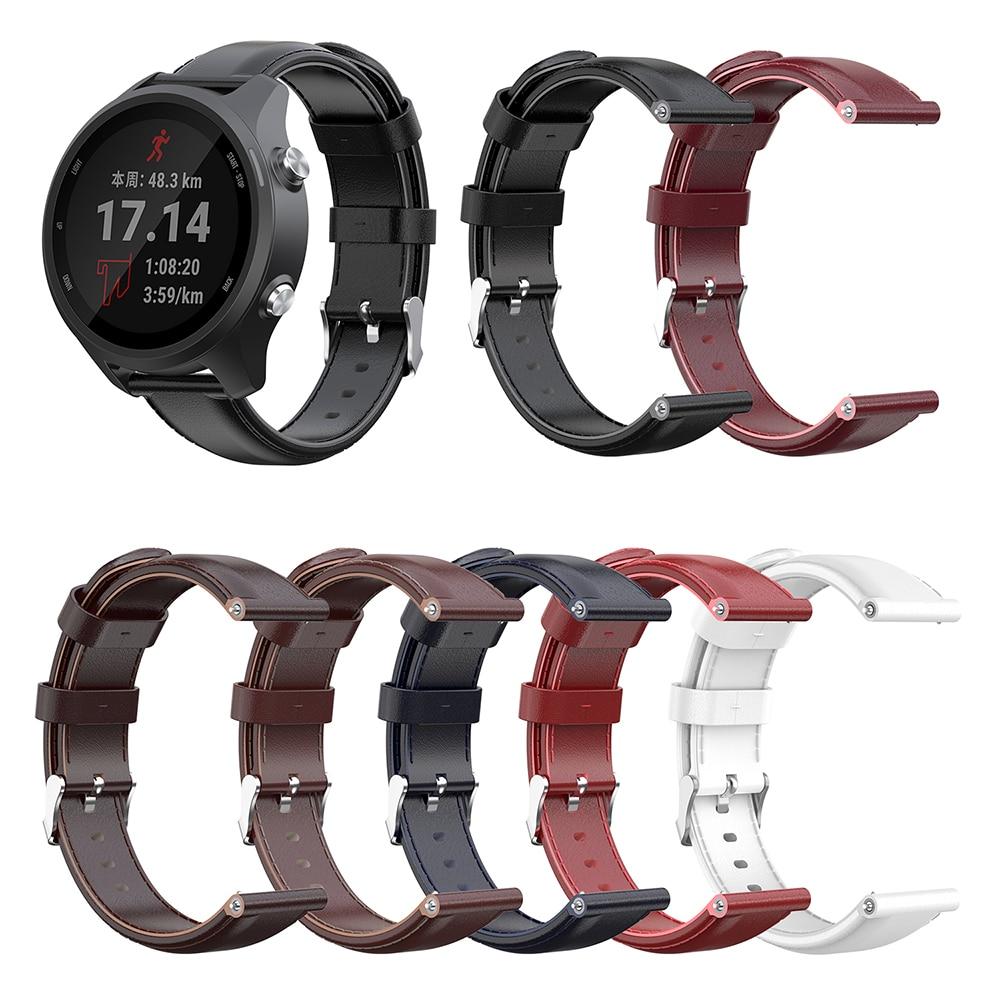 Watchband Universal Oil Wax Calf Leather Strap 20mm Smart Wristband for Garmin Forerunner245 645 Vivoactive3 Vivoactive 3 Music