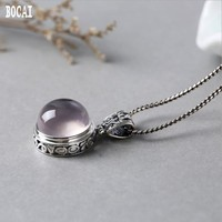 S925 silver inlaid with natural hibiscus stone powder crystal pendant Thai silver women's style pendant