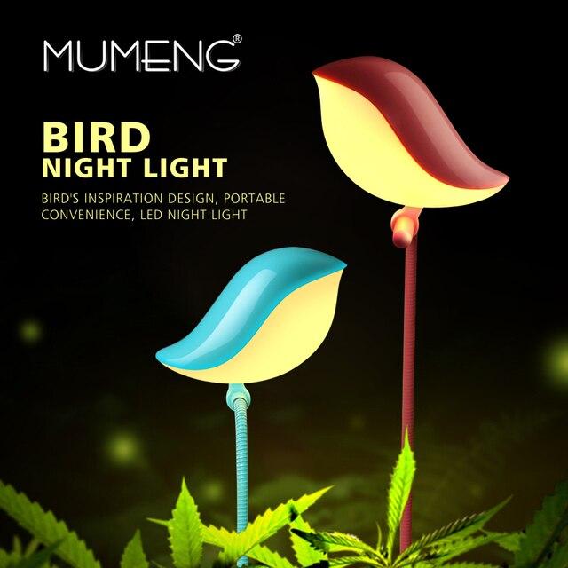 Mumeng usb ночь светодиодная птица детская комната лампы мини lamptop lampra power bank портативный luminaria подключить светильник