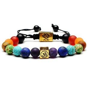 Image 5 - 7 Chakra Bracelet Men Women Black Lava Healing Balance Reiki Prayer Natural Stone Beads Yoga Strand Bracelets Adjustable Rope