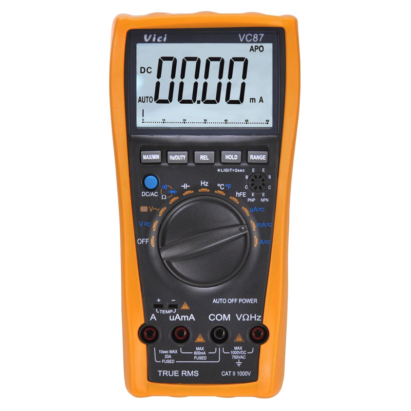 VICI VC87 LCD Digital Multimeter True RMS DMM for Motor Drives w/ Frequency Capacitance Temperature & hFE Tester ms8226 handheld rs232 auto range lcd digital multimeter dmm capacitance frequency temperature tester meters