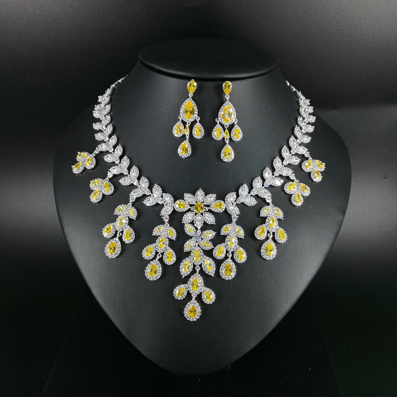2019 New fashion Luxury yellow leaves CZ zircon necklace earring wedding bride banquet dressing dinner jewelry set,free shipping2019 New fashion Luxury yellow leaves CZ zircon necklace earring wedding bride banquet dressing dinner jewelry set,free shipping
