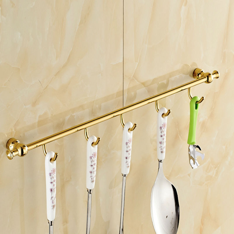 Home Kitchen Bathroom Brass 5 Hooks Coat/Hat/Bag Vintage Style Hanger Decor Wall Mounted Spoon Rack xoxo best promotion 3 4 5 6 7 stainless hooks coat hat holder clothes rack hook wall home kitchen bathroom hanger door decor