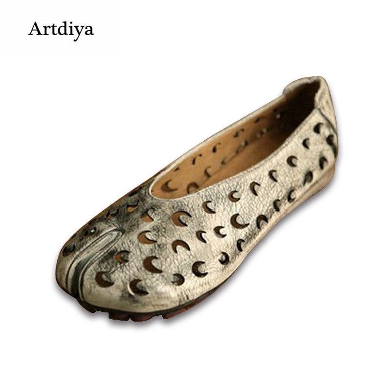 Artdiya 2019 Echt Leer Vrouwen Schoenen Hol Handgemaakte Platte Retro Verhoogde Schoenen 2028 61-in Platte damesschoenen van Schoenen op  Groep 2