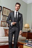 Последние Пальто Пант Дизайн серый платок нагрудные мужской костюм Slim Fit 3 предмета классический смокинг на заказ жениха Блейзер Костюмы дл