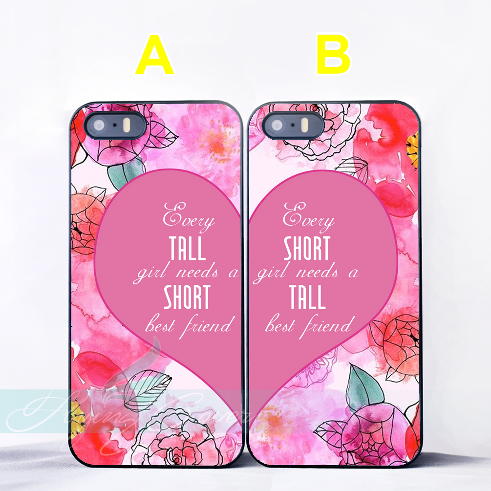 Coque Short Tall Best Friend Quotes BFF Couple Cases for iPhone X 8 7 6 6S 7 Plus SE 5S 5C 5 4S 4 Case for iPod Touch 6 5 Cover.