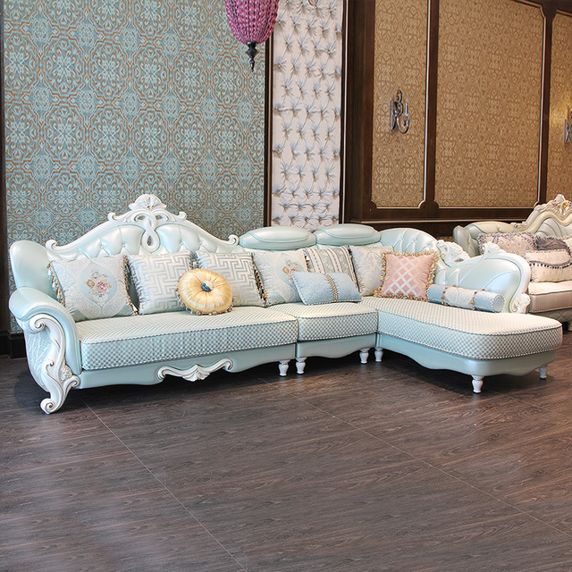 European Style Fabric Sofa Combinationed Solid Wood Carved Leather Cloth Corner Living Room Small Size