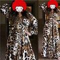 Мода халат женщины Большой размер леопарда халат ночное V шеи пижамы банный халат для дамы