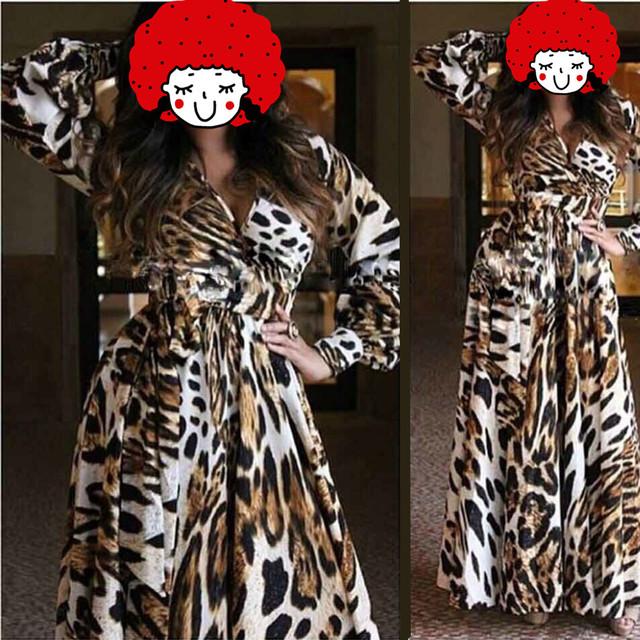 Moda bata mujeres más el tamaño de gasa de leopardo albornoz ropa de dormir con cuello en V bata ropa de dormir albornoz para las damas