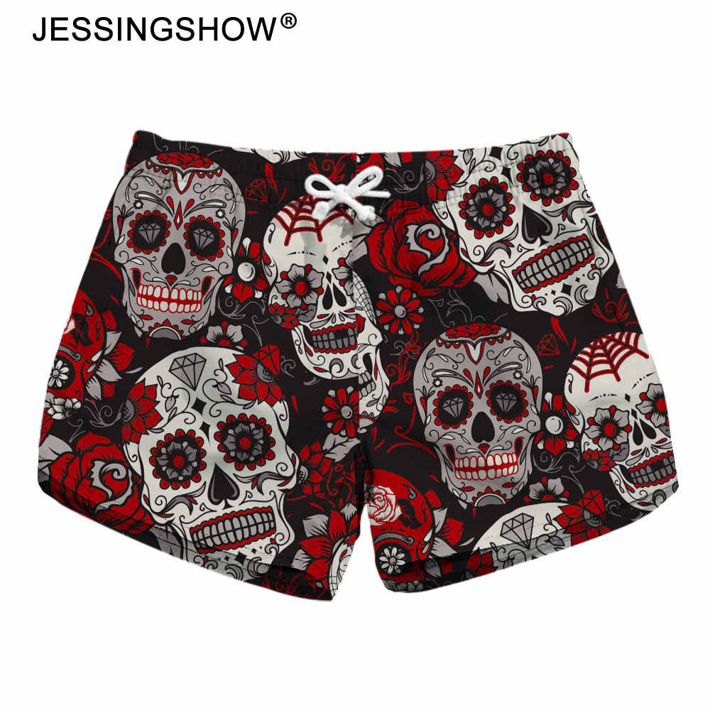 2018 Summer Casual Shorts Skull Flower Printed Women Shorts Fitness Workout Short Pants For Female