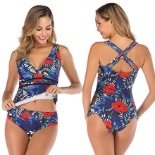 Women Tankini Swimsuit V Neck Bathing Suit Cross Straps Swimming Suit Floral Print Plus Size Swimwear Tummy Control Bikini