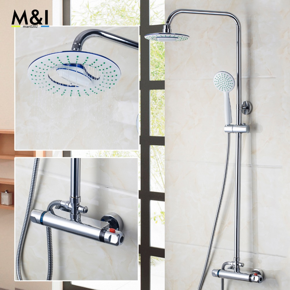 Bathroom Contemporary 8 inch 53953 Thermostatic Rainfall Shower Head Bathroom Bath Shower Mixer Taps Shower Faucet Tap Set gappo classic chrome bathroom shower faucet bath faucet mixer tap with hand shower head set wall mounted g3260