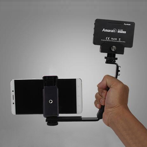 Image 5 - Smooth Q 4 Mic Stand L Bracket Camera Handle Grip for Zhiyun Smooth 4 DJI Osmo LED Light Rode Videomicro with 2 Hot Shoe Mounts