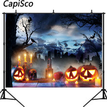 Capisco Halloween Theme Photography Backdrop Pumpkin Wood Floor Cemetery Forest Background Decoration Photo Studio Props(China)