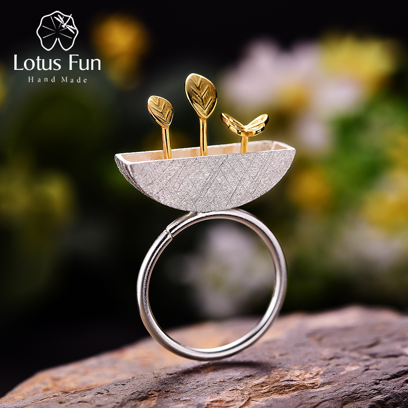Lotus Fun Real 925 Sterling Silver Natural Handmade Original Designer Fine Jewelry My Little Garden Open Female Rings Bijoux