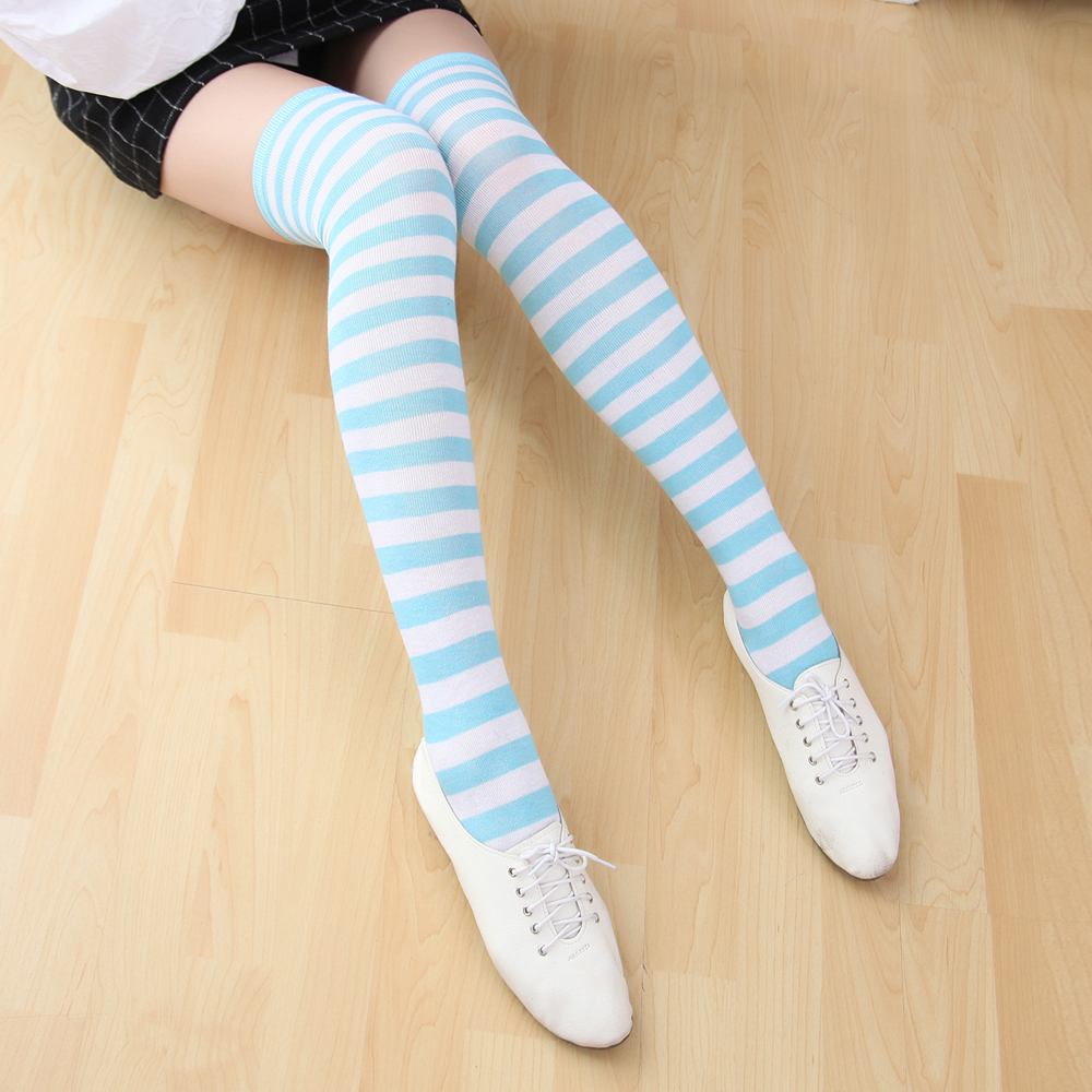 Free Size Japan Anime Miku Cosplay Striped Stockings 60cm Long Christmas Kousen Gril Women Sexy Blue White Pink Campus Medias XL