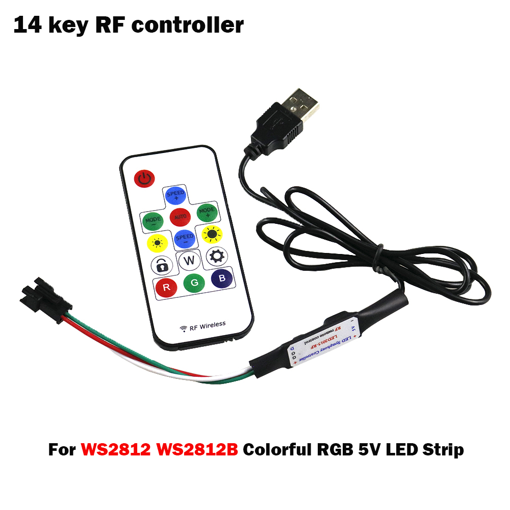 5V USB RGB LED Controller Dimmer RF Wireless Mini Remote Controller for RGB 3528 5050 WS2812B RGB Led Strip tape lighting 5 24V in RGB Controlers from Lights Lighting