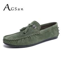 Agsan Замшевые мужские лоферы с бахромой кожаные мокасины дышащая обувь для вождения мужской зеленый без шнуровки итальянские Мокасины Повседневная обувь на плоской подошве