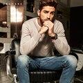 2016 projetos de patch de outono do vintage de malha cinza camisola manga comprida malhas dos homens da marca de luxo u & shark pullover camisola fina masculino
