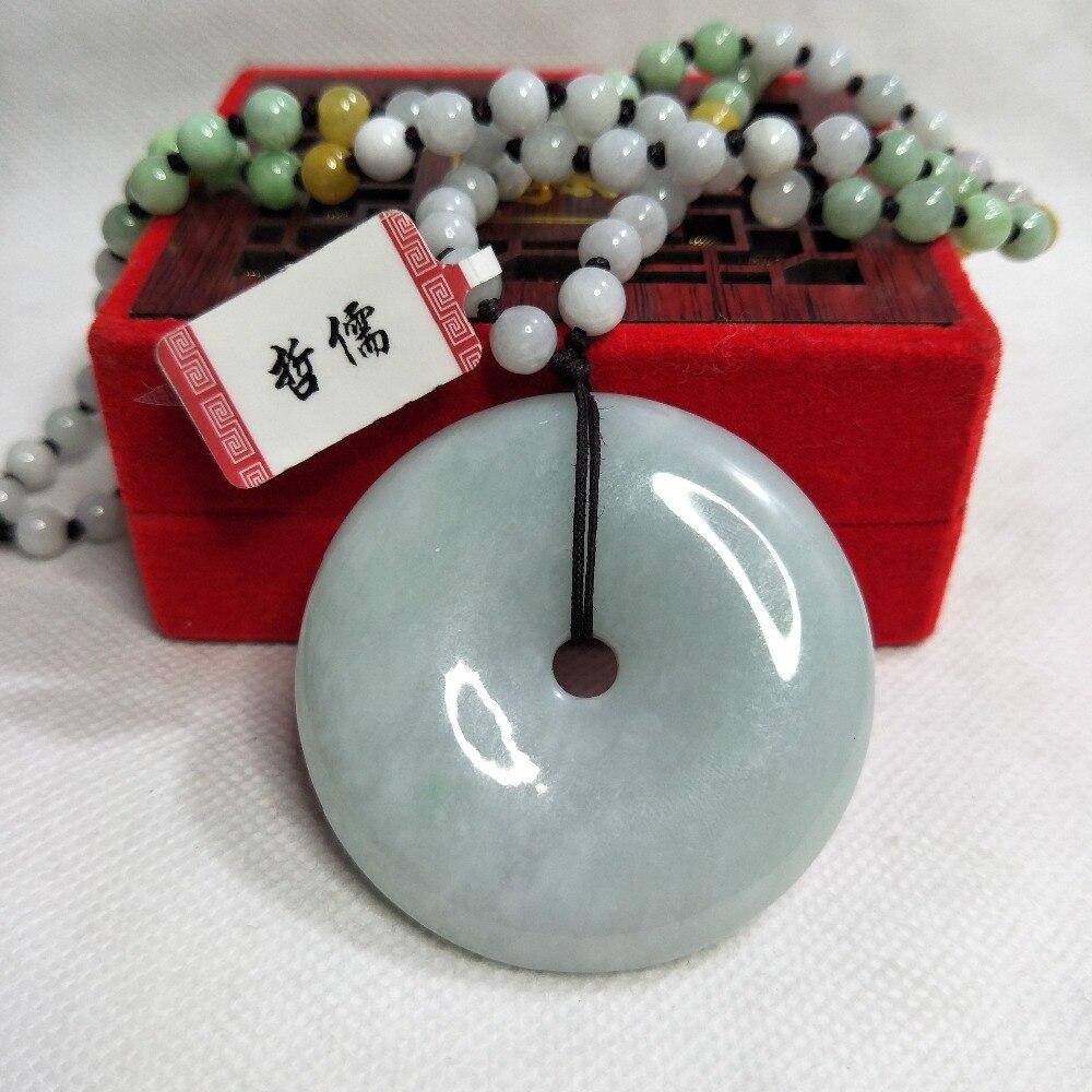 Zheru bijoux pur naturel jadéite vert grand beignet pendentif tricolore jadéite perle collier cadeau classe A certificat National