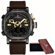 NaviForce Montres Hommes Marque De Luxe De Mode Casual Montre En Cuir de Quartz Horloge Hommes Sport Montres Hommes Militaire Montre-Bracelet + boîte