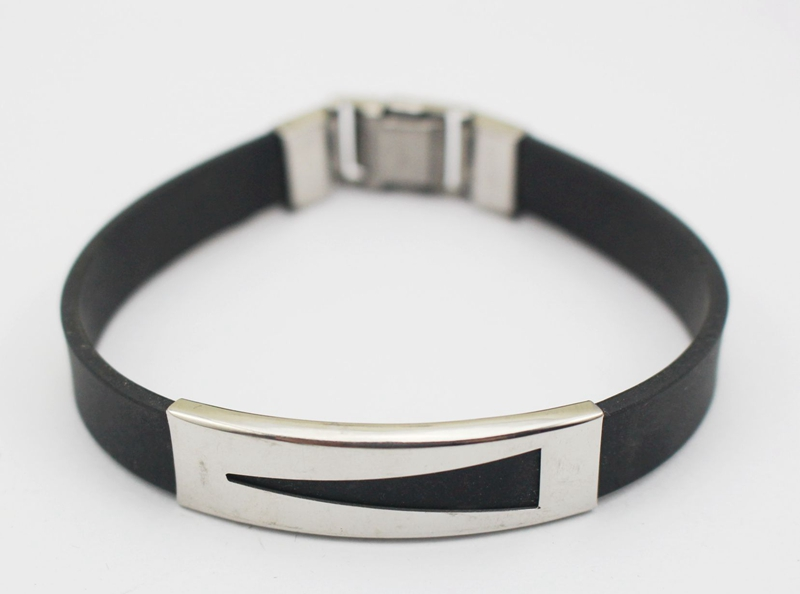 Black Leather Bracelet <font><b>2016</b></font> Man Silver Metal Link 316L Stainelss <font><b>Steel</b></font> Bracelet Wristband pulseira homens Wholesale Large <font><b>Stock</b></font>