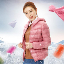 Plus Size 2016 New Fashion Winter Short Warm 90% White Duck Down Jacket Slim Solid Hooded Coat Women Parka Coats