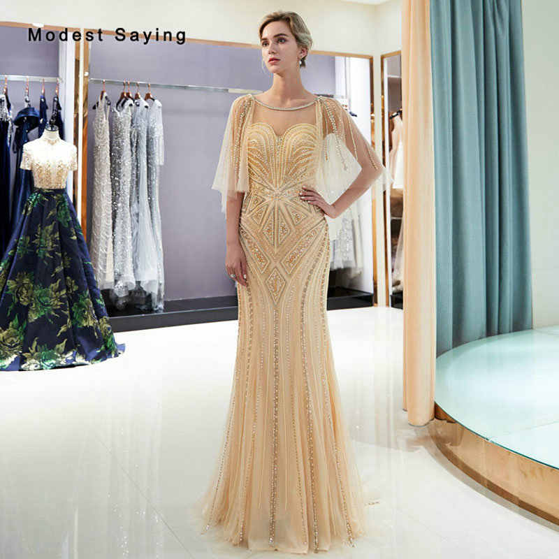 Luxury Champagne Mermaid Sparkly Beaded Evening Dresses 2019 Fashion with  Pearls Silver Formal Women Engagement Party d3fdeda2fac9