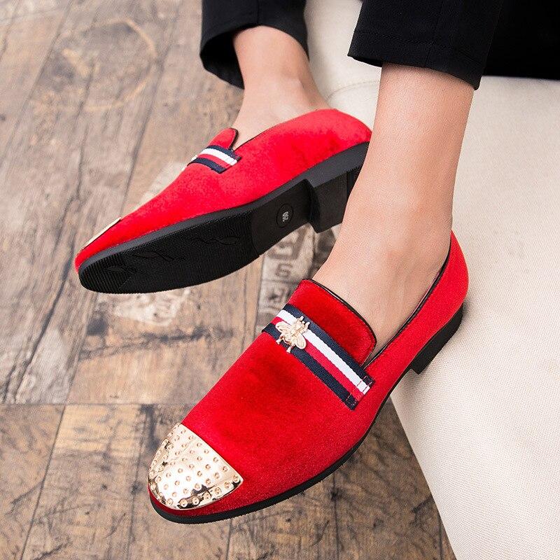 Negócios Preto Moda Plana Dos Casuais Itália Loafer Casamento Metal De Festa Size Decoração Design 47 Couro vermelho Sapatos Homens Mocassins Plus HH4vO