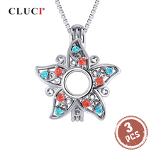 CLUCI 3pcs 925 Sterling Silver Star Cage Pendant Women Zircon Charms Pendant Star Shaped Silver 925 Pendant Pearl Locket SC343SB