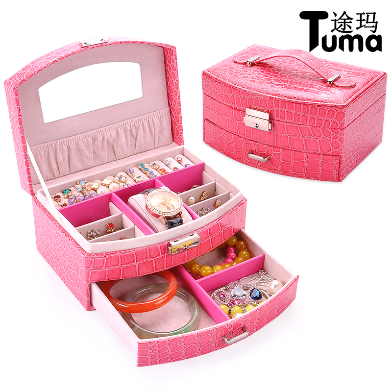 Leather Crocodile Jewelry Cases Double Layer Cosmetic Box Watch Box Ring Storage Organizer Wedding Gift cute cat pen holders multifunctional storage wooden cosmetic storage box memo box penholder gift office organizer school supplie