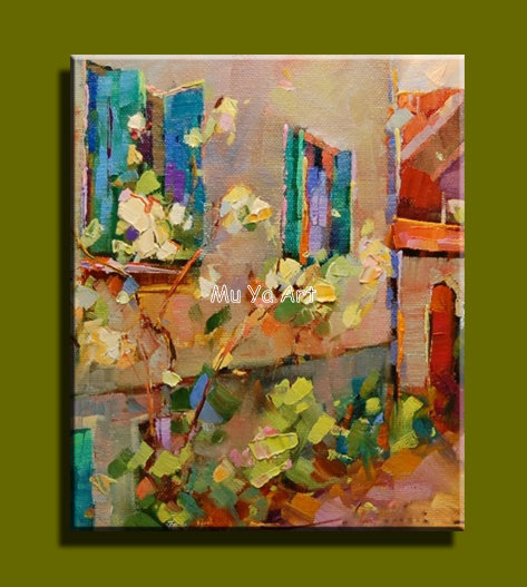 Abstract modern canvas wall handmade famous cheap Venice font b Knife b font oil painting on